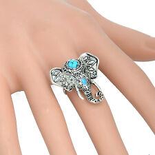 Bohemian Boho Fashion Vintage Turquoise Blue Elephant Antique Silver Ring