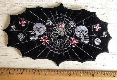 SPIDER WEB PATCH EMBROIDERED IRON ON biker vest cut rocker goth death metal rock