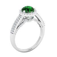 Natural 1.57 Ct Round Diamond Emerald Ring Solid 14K White Gold Gemstone Ring 8