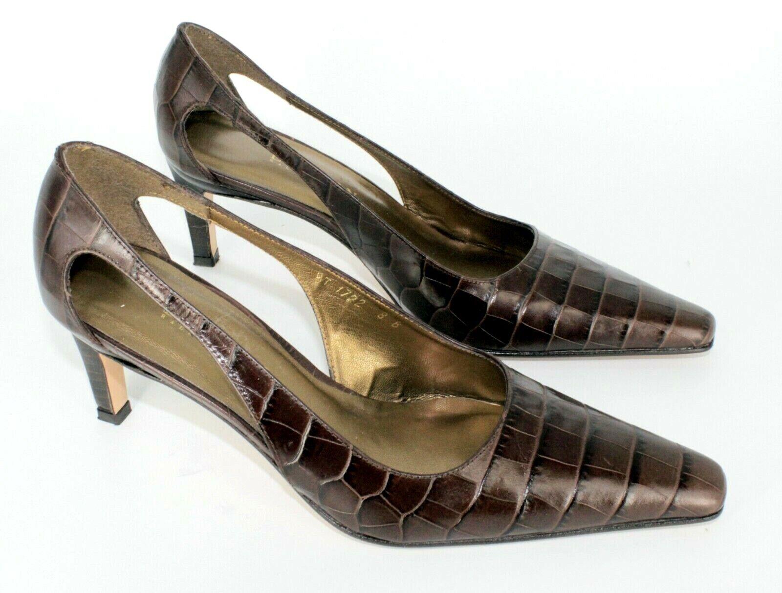 Lauren Ralph Lauren Womens Brown Croc Grain Leather High Heel Pumps Sz. 8 B