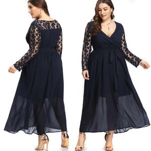 Details About Plus Size Women Long Cocktail Party Evening Formal Wedding Prom Gown Maxi Dress