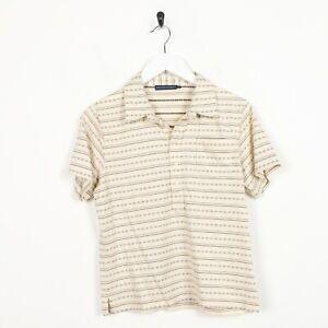 Vintage-Women-039-s-RALPH-LAUREN-Striped-Polo-Shirt-Top-jaune-Large-L