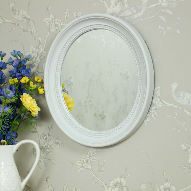 White oval wall mounted mirror bevelled bedroom living room hall girly home