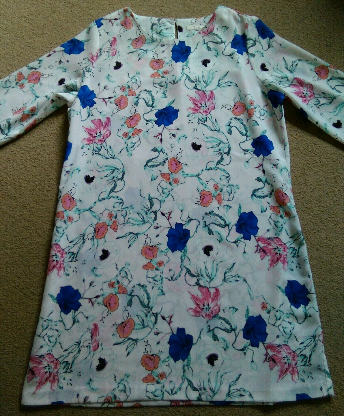 SEXY DARLING WHITE BRIGHT TUNIC STYLE PINK blueE FLOWER PRINT SHORT DRESS 12 14