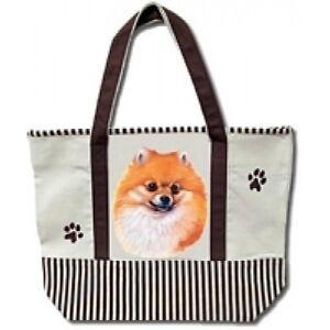 Pomeranian Dog Canvas Tote Bag Pet Shopping Purse Beach Diaper Puppy