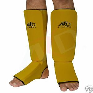 ARD Shin Instep Protectors, Guards Pads Boxing, MMA, Muay Thai Yellow S,M, L, XL