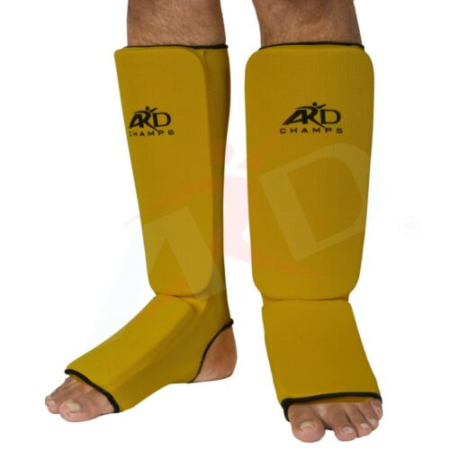 MMA ARD Shin Instep Protectors Muay Thai Yellow S,M Guards Pads Boxing L XL