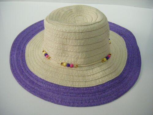 Women/'s Beaded Big Brim Braided Sun Hat Pink, Purple, Teal Pool,Beach,Garden