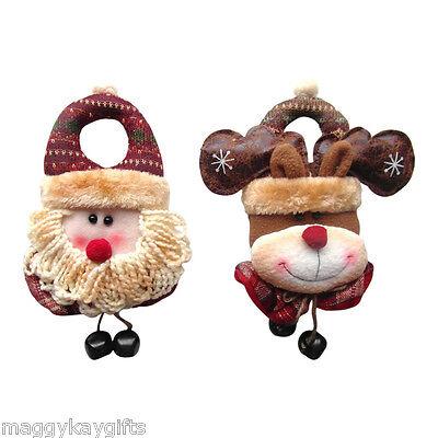 30cm Christmas Decoration SANTA or RUDOLPH Fabric Door Handle Knob Hangers