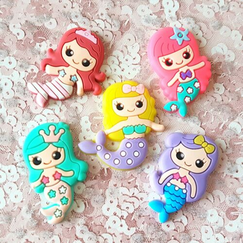 Set of 5 Bright Mermaid Nautical Rubber Flatbacks Craft Supplies Cabochons