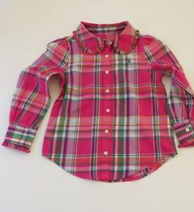 f2dfa858 BNWT Ralph Lauren girls check shirt Pink multi Ruffle Collar | eBay