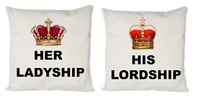 COUPLE-HER-LADYSHIP-HIS-LORDSHIP-COOL-IDEAL-GIFT-PRESENT-CUSHION-COVER-16X16-034