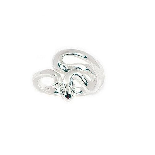Bijoux Femme Enfant T52 Bague Joaillerie Serpent aux Yeux Diamant Cz silver 925