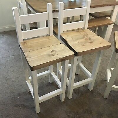Amazing Rustic Farmhouse Style Dining Breakfast Bar Stools X 4 Ebay Short Links Chair Design For Home Short Linksinfo