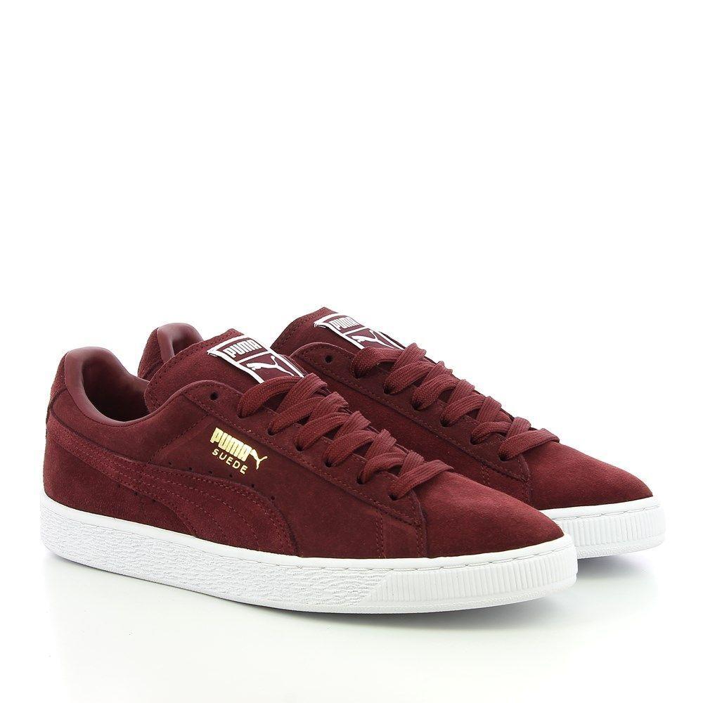 Puma Gamuza Clásico + Bajo Zapatillas Hombres Zapatos  56568-81 Rojo blancoo Talla 10 Nuevo