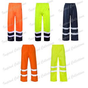 Hi-Viz-Seguridad-Impermeable-Lluvia-Sobre-Pantalon-Trabajo-Alta-Visibilidad-Vis-Pantalones-para