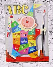 VINTAGE 1950's UNCOLORED ABC COLORING BOOK W CLOWN COVER PLAYMORE WALDMAN