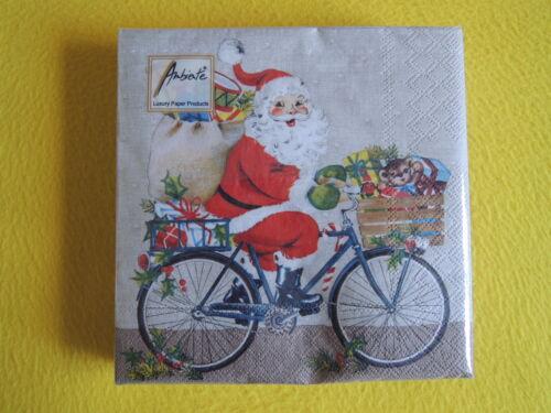 20 Servietten Weihnachtsmann FAHRRAD  1 Packung OVP Weihnachten santa Geschenke