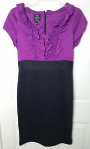 Suzi Chin for Maggy Boutique Cap Sleeve Ruffle Neck Black Purple Dress Size 6