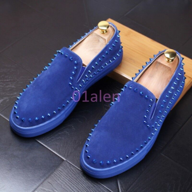 Scarpe casual da uomo  uomos Comfort Tennis Rivet Spike Suede Vogue Slip On Loafers Leisure Shoes Flat