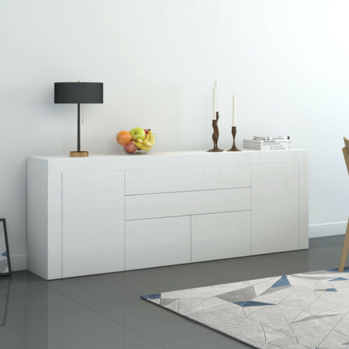 Panana TV Unit Stand Sideboard LED in Black White High Gloss /& Natural Tones