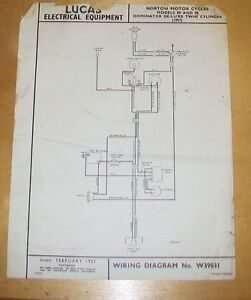 norton twin cylinder 88 89 dominator de luxe 1957 lucas wiring rh ebay co uk norton commando wiring diagram air norton wiring diagram