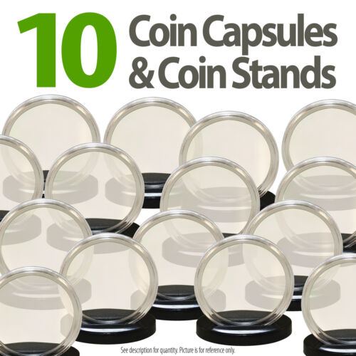 10 Coin Capsules /& 10 Coin Stands for NICKEL Direct Fit Airtight 21mm Holders