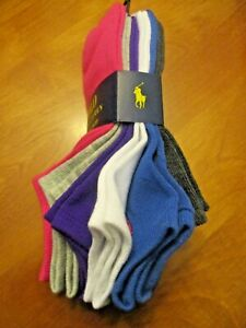 2 of 6 pack Polo Ralph Lauren Women/'s Ultra Low-cut Socks Multi-Color 9-11