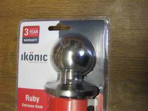 Ikonic Ruby Entrance Door Knob 60mm-70mm Adjustable Set Chrome