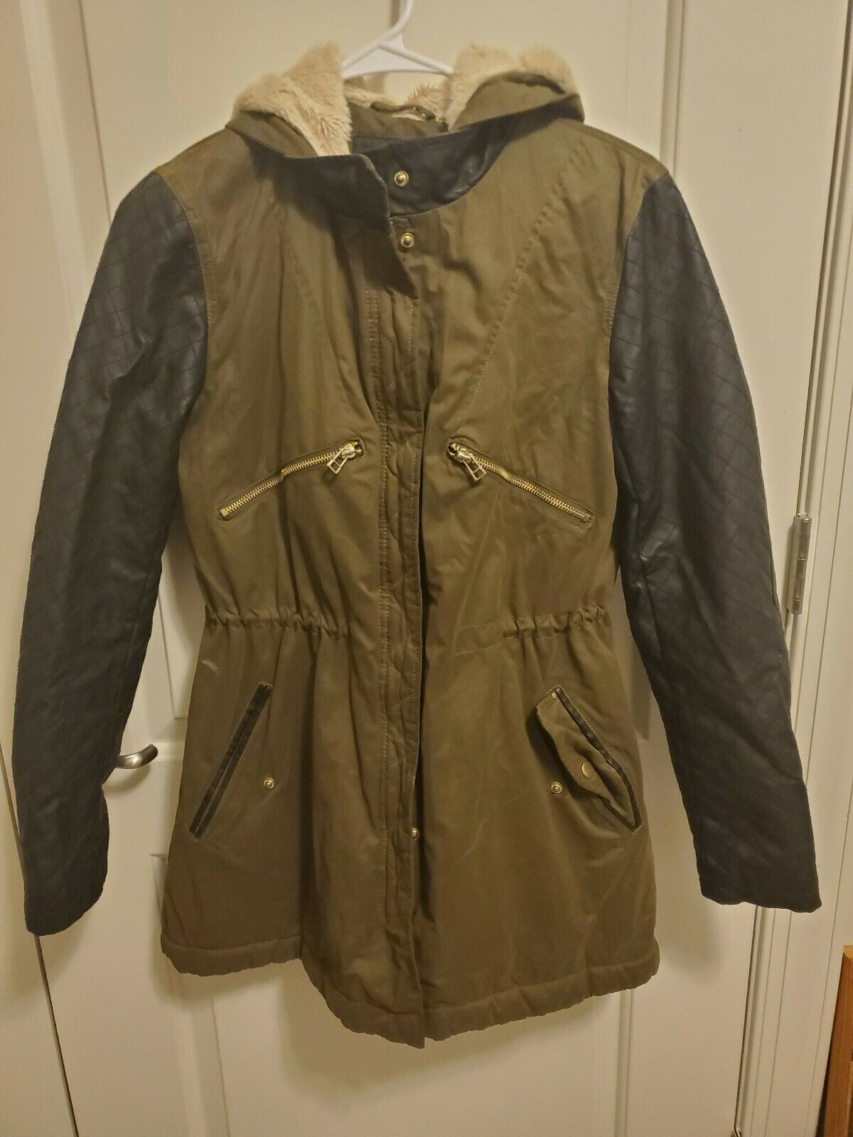 Girls Winter Coat Olive Green/Black Faux Leather Sleeves Size Small