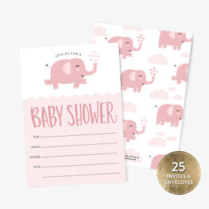 25-Baby-Shower-Invitation-Girl-with-Envelopes-Pink-Elephant-Baby-Shower