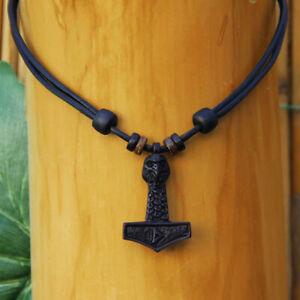 Schwarze-Lederkette-mit-Thorshammer-Halskette-Thorhammer-Thor-Hammer-Mjoelnir