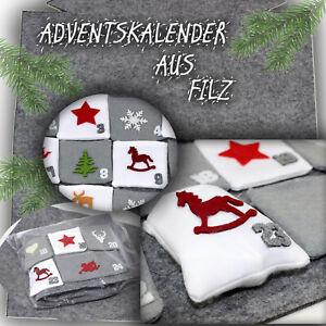 Adventskalender Geschenk zum Selbst- Befüllen mit 24 Säckchen aus Stoff & Filz