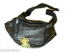 Black Leather Bum Bag Travel Waist Pack Belt Money Utility Bumbag Safe Security