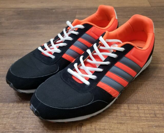 Adidas Neo City Racer Shoe Size 10.5 ART F97877 Black Neon Orange Mens Ortholite
