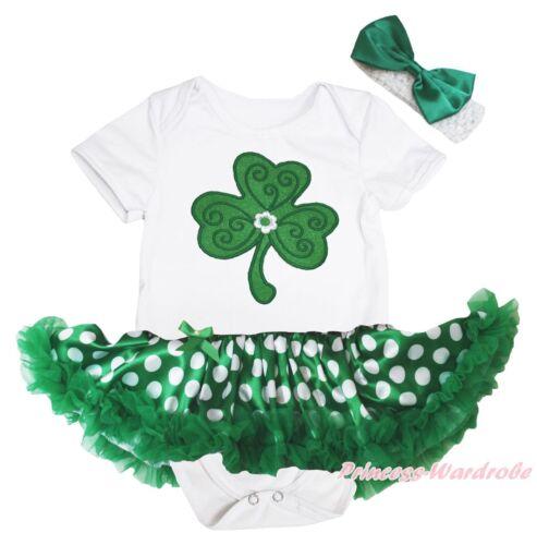 Clover St Patrick White Bodysuit Green Polka Dots Girls Baby Dress Outfit NB-18M