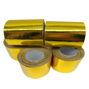 10M Gold Roll Adhesive Reflective High Temperature Heat Shield Wrap Tape 50mm