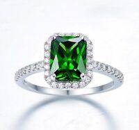 Emerald Engagement Wedding Ring Emerald Cut