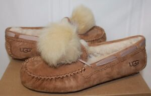Details About Ugg Dakota Pom Pom Chestnut Suede Moccasin Shoes New With Box