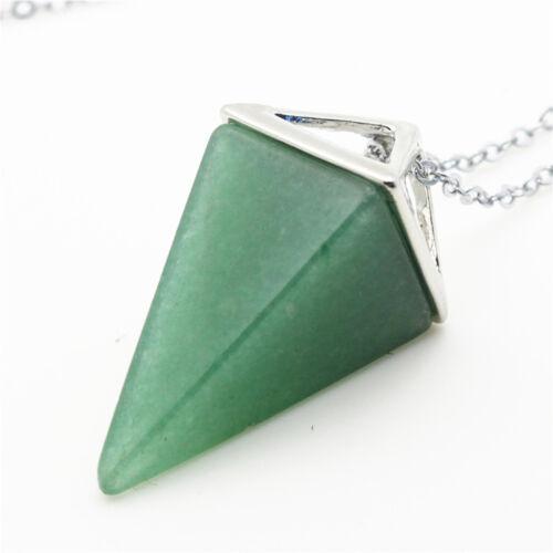Natural Quartz Crystal Healing Chakra Gemstone Pendant Chain Reiki Necklace b15