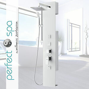 luxus glas duschpaneel amazonas iv wei duschs ule duschset 3 massaged sen. Black Bedroom Furniture Sets. Home Design Ideas