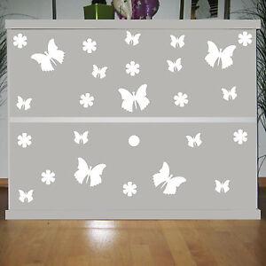 25 Aufkleber Tattoo Weiß Schmetterlinge Blumen Auto Möbel