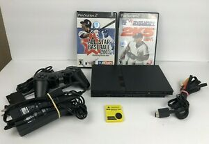 Sony Playstation 2 PS2 Slim Black Console W/ Controller, 2 Games Tested - LOT!