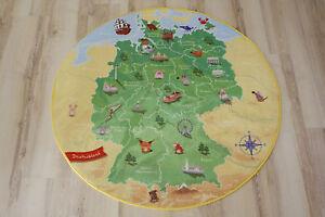 Tappeto-bambini-Tappeto-da-gioco-Germania-BIGLIETTO-130CM-TONDO