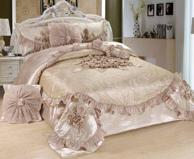 Tache 6 PC Cream Beige Crème Sweet Victorian Ruffles Satin Quilt Comforter Set