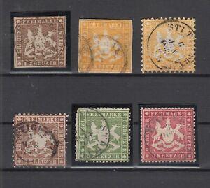 X2335-GERMANY-WURTEMBERG-1857-1864-USED-CLASSIC-LOT-CV-595