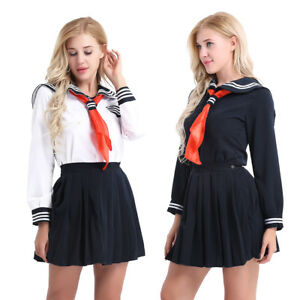 531b5005b9 Image is loading Women-Girls-Sailor-School-Uniform-Dress-Costume-Long-