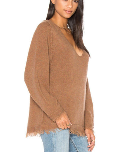 Free People OB536561 Irresistible V-Neck Frayed Long Sleeve Sweater Terracotta S