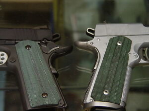 G10 Grips Colt Kimber Custom 1991 1911 Black And Green Tactical