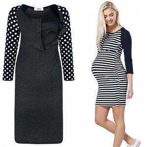 8bd59561d67 Happy Mama. Women s Maternity Nursing Dress 3 4 Sleeves Buttoned ...